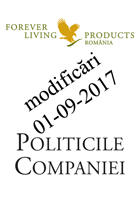 Politicile Companiei Forever Living Products modificari de la 1 septembrie 2017